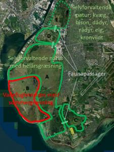 Selvforvaltende naturområde på Vestamager (skitse-forslag sendt til Naturstyrelsen). Sept. 2017.